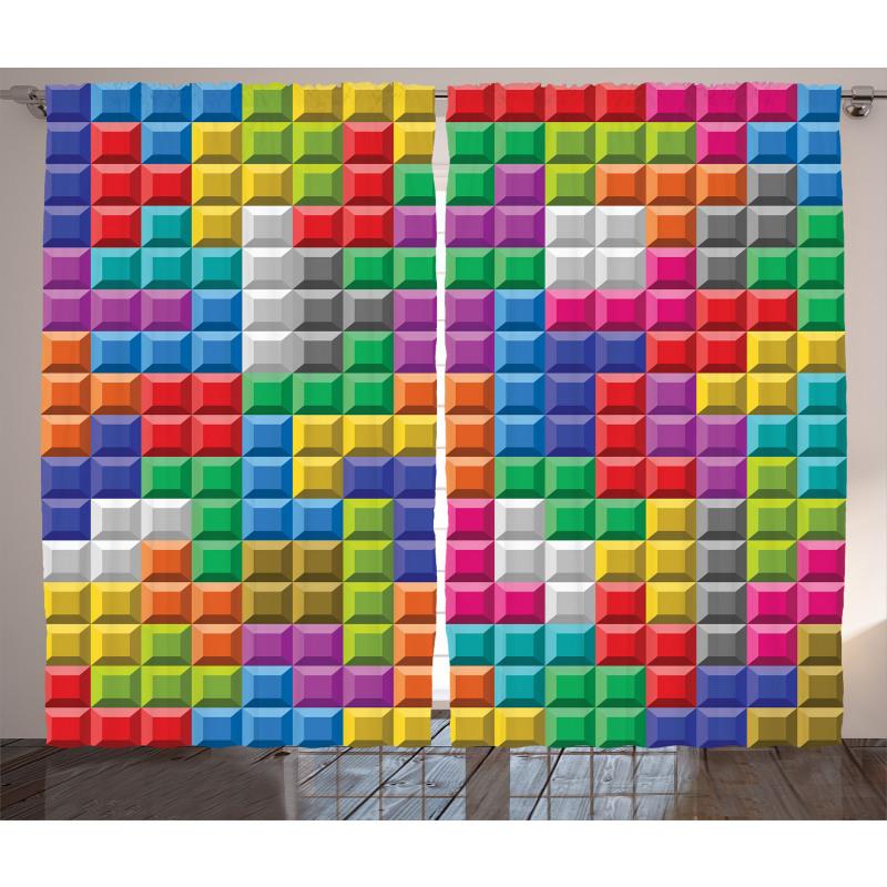 Geometrik Perde Tetris Desenli