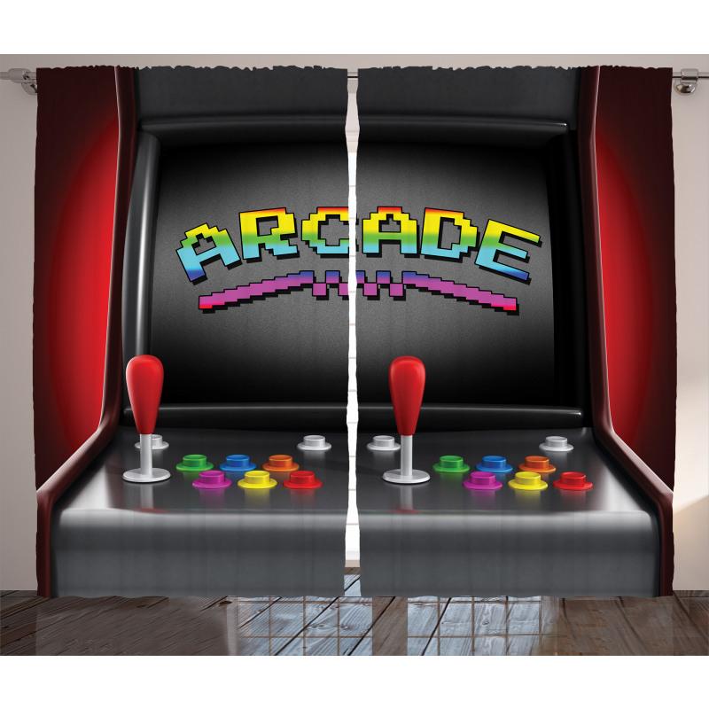 Karışık Desen Perde Nostaljik Oyun Makinesi
