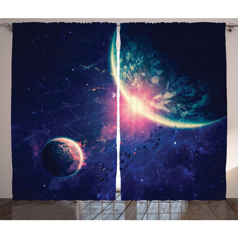 Outer Space Mars Planets Curtain