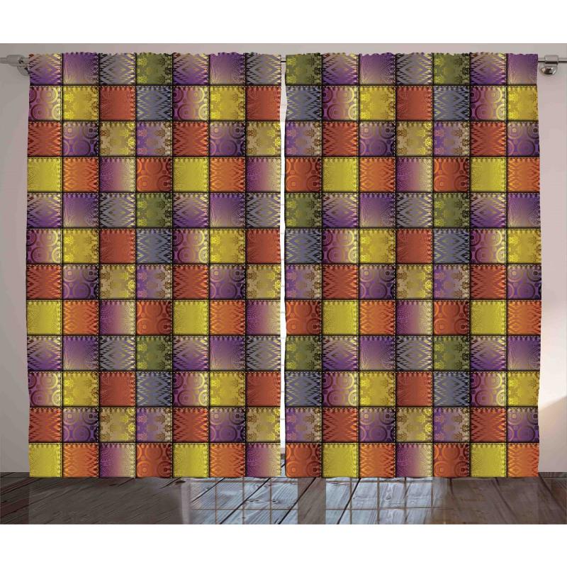 Digital Mix Motif Shapes Curtain