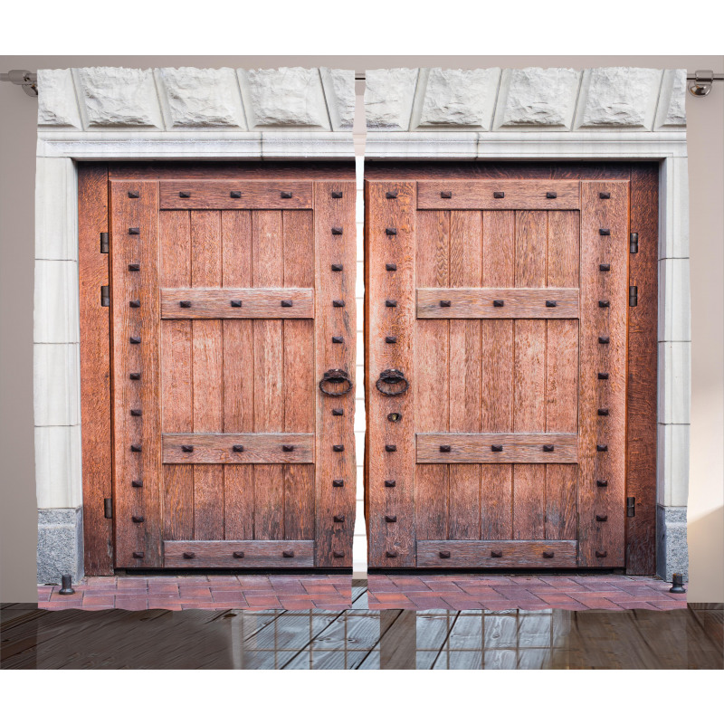 Antique French Wood Door Curtain