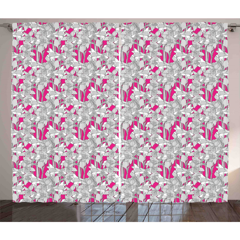 Retro Flower Leaf Petals Curtain