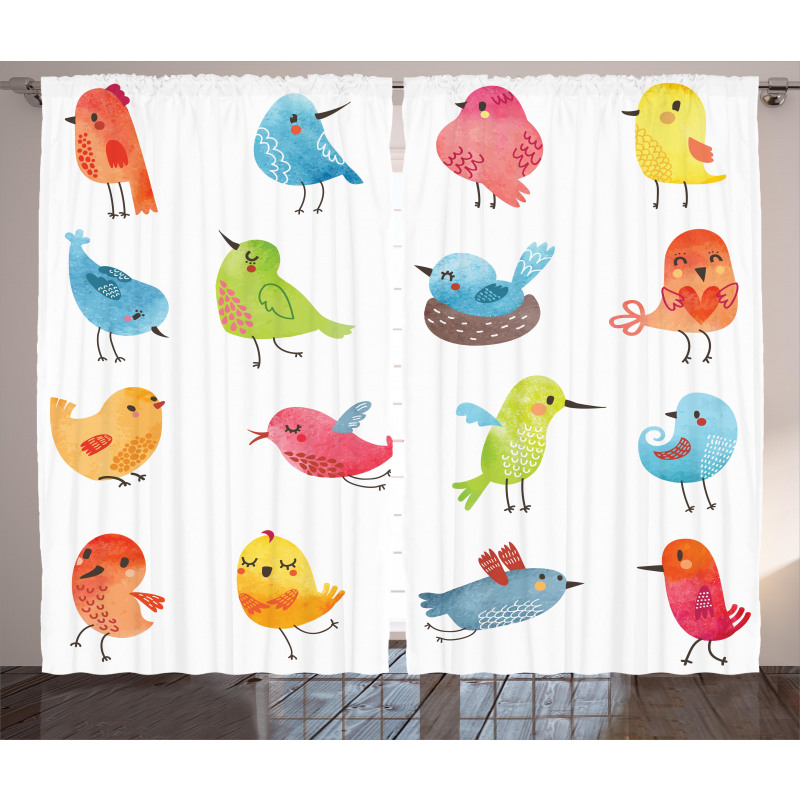 Colorful Humor Bird Curtain