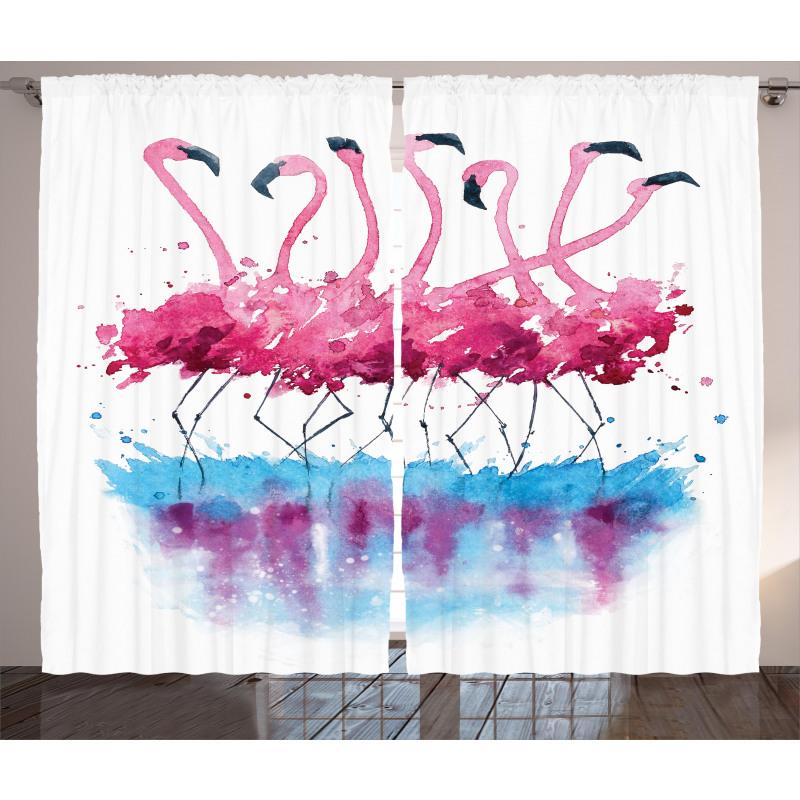 Flamingo and Bird Curtain