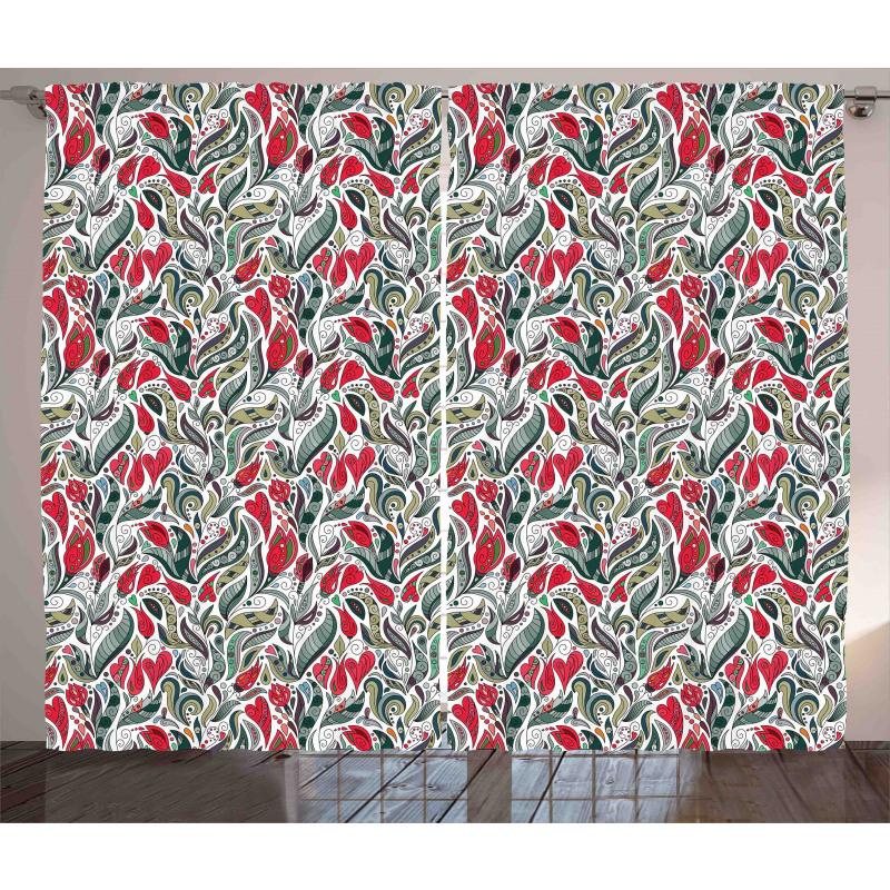 Colored Boho Flowers Leaf Curtain