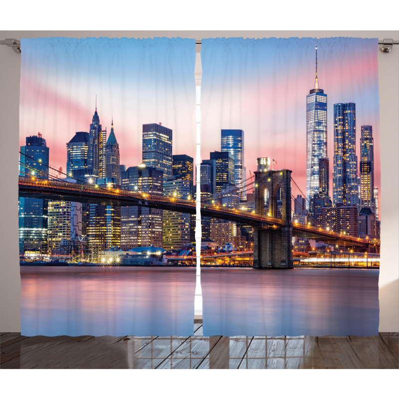 Sunrise in Brooklyn Bridge Curtain