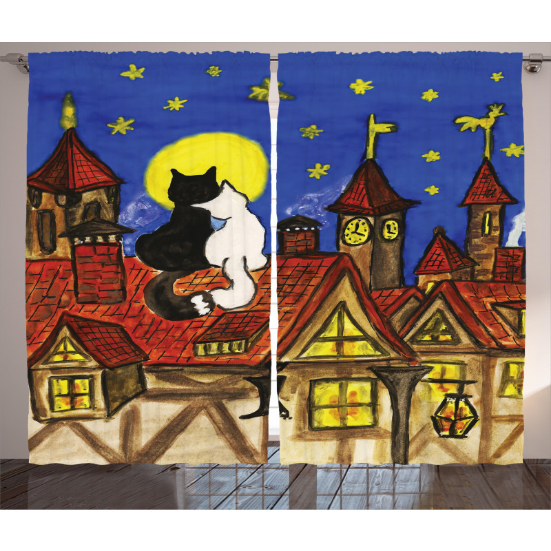 2 Lover Cats with Sky Curtain