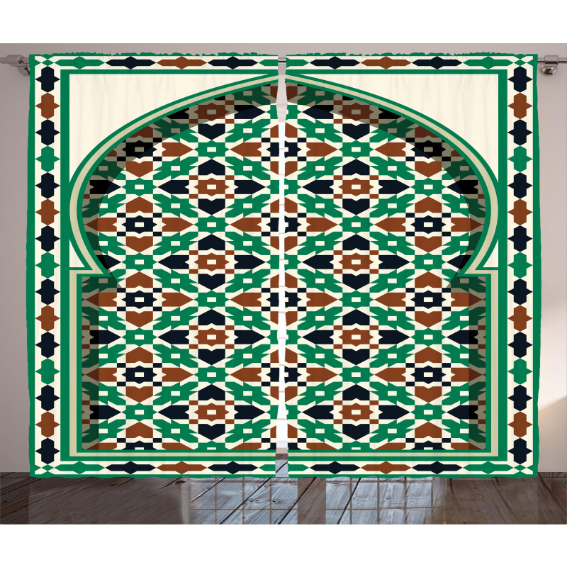 Moroccan Arch with Floral Curtain