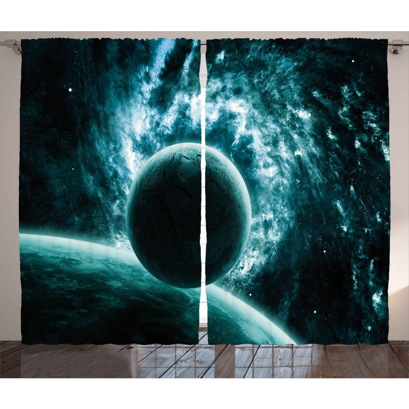 Solar System Star Scenery Curtain