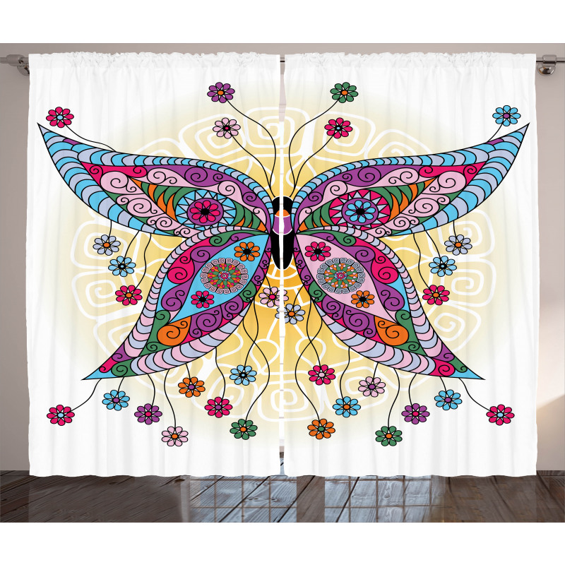 Spring Flowers Butterfly Curtain