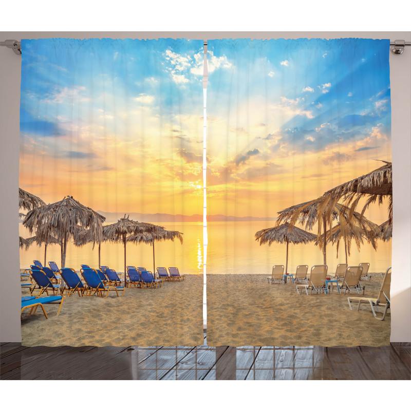 Sandy Beach with Sunrise Curtain