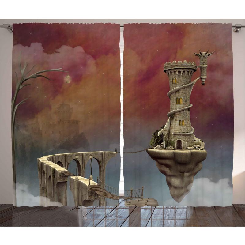 Fantastik Perde Fantezi Kule Desenli