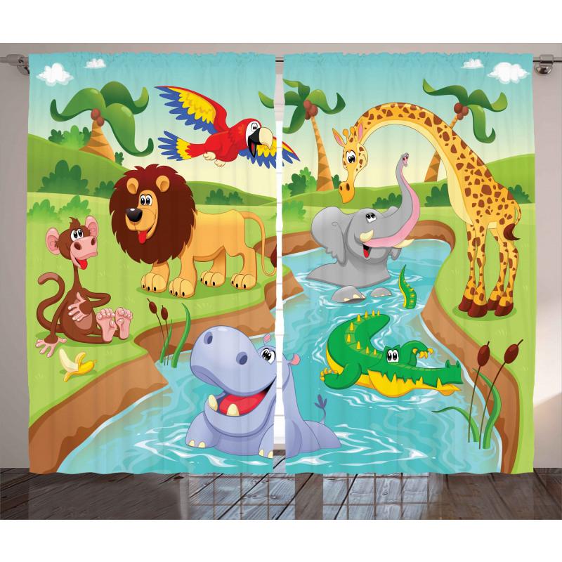 Çocuklar için Perde Havuz Partisi Hayvanlar