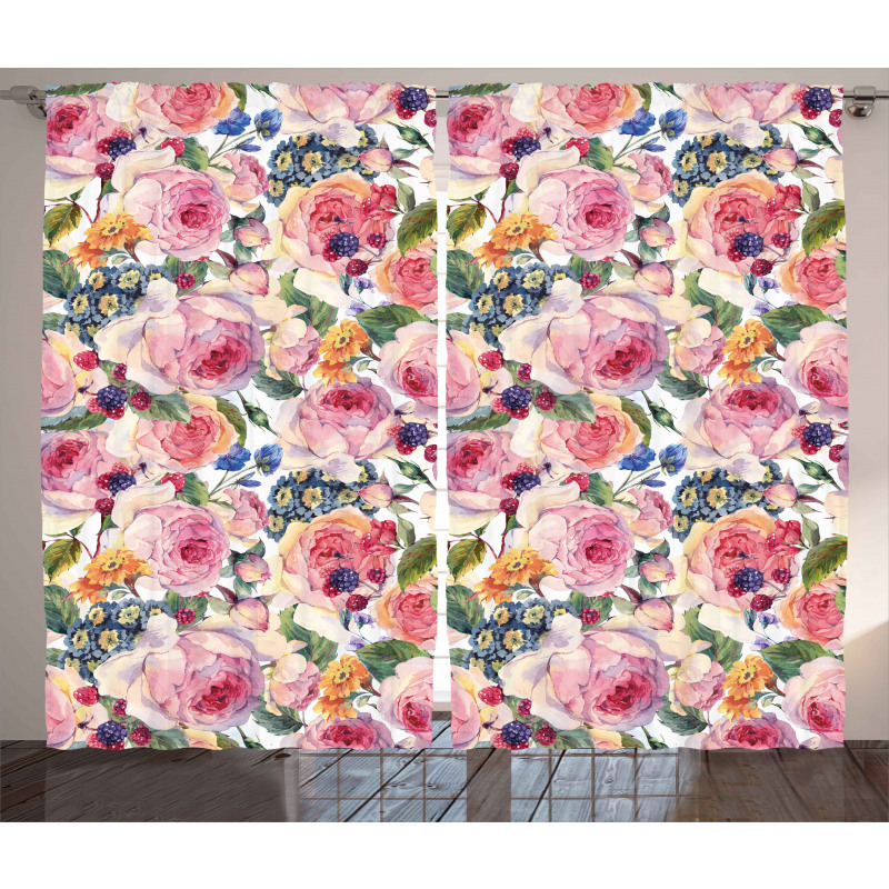 Shabby Plant Rose Floral Curtain
