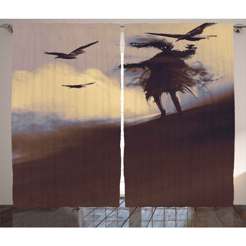Dark Soul Crows on Hills Curtain