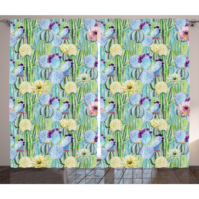 Cactus Buds Types Pattern Curtain