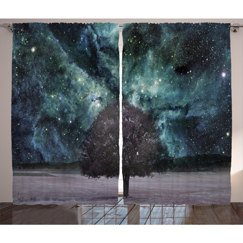 Nebula Galaxy Planet Tree Curtain
