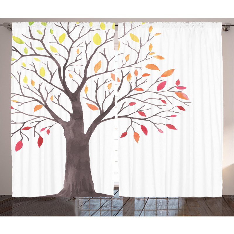 Forest Trees with Leaves Curtain