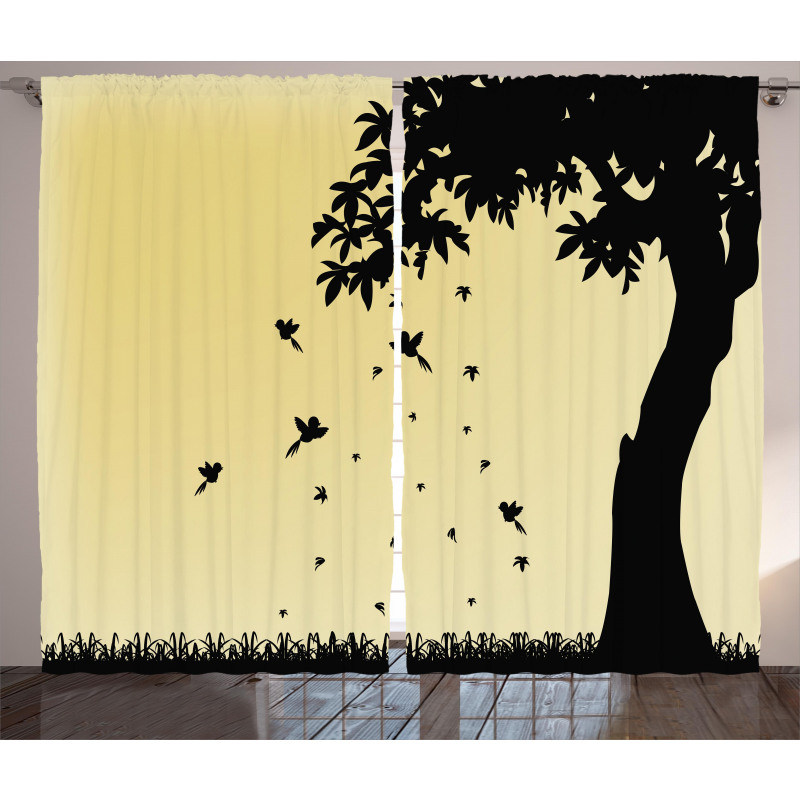 Tree with Falling Leaves Curtain
