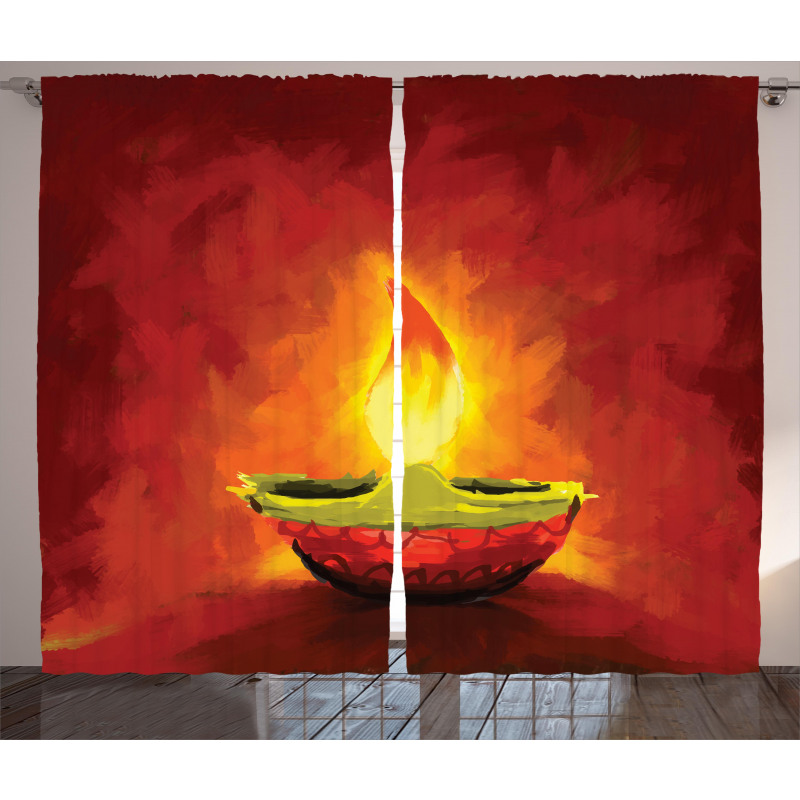 Oil Painting Candle Curtain