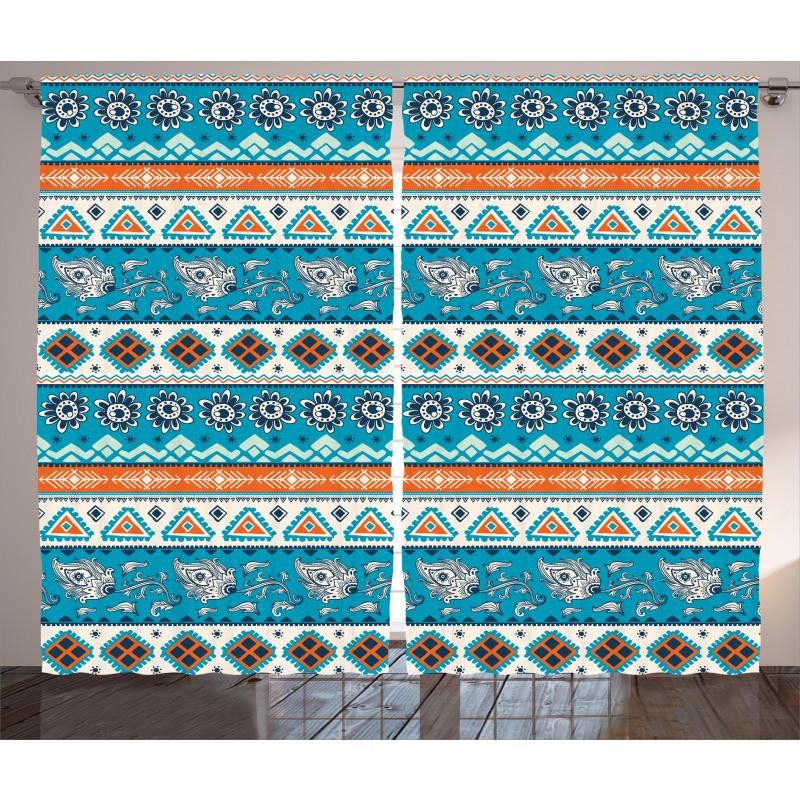 Floral Aztec Art Pattern Curtain