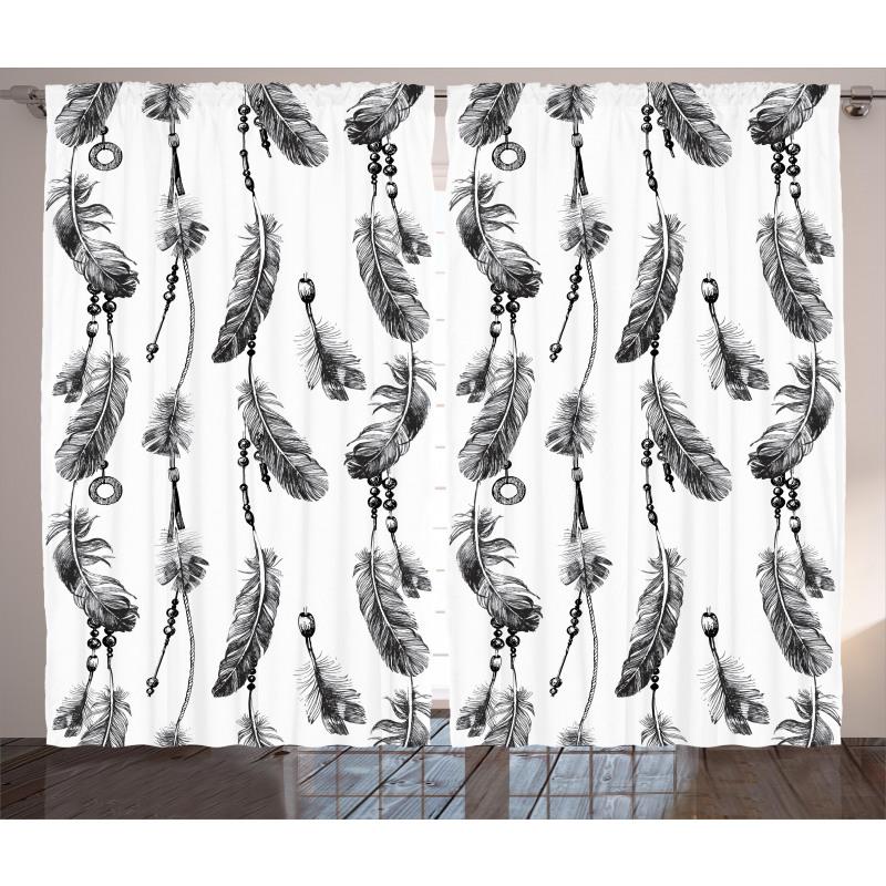 Black White Boho Feather Curtain
