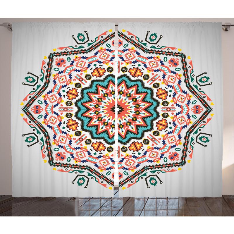 Abstract Sun Aztec Style Curtain