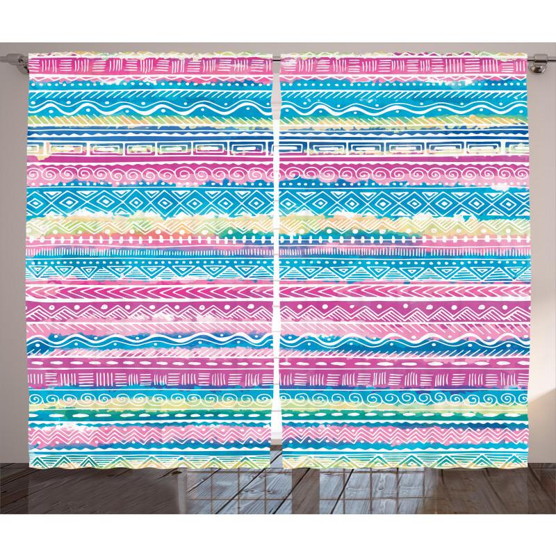 Watercolor Aztec Stripes Curtain