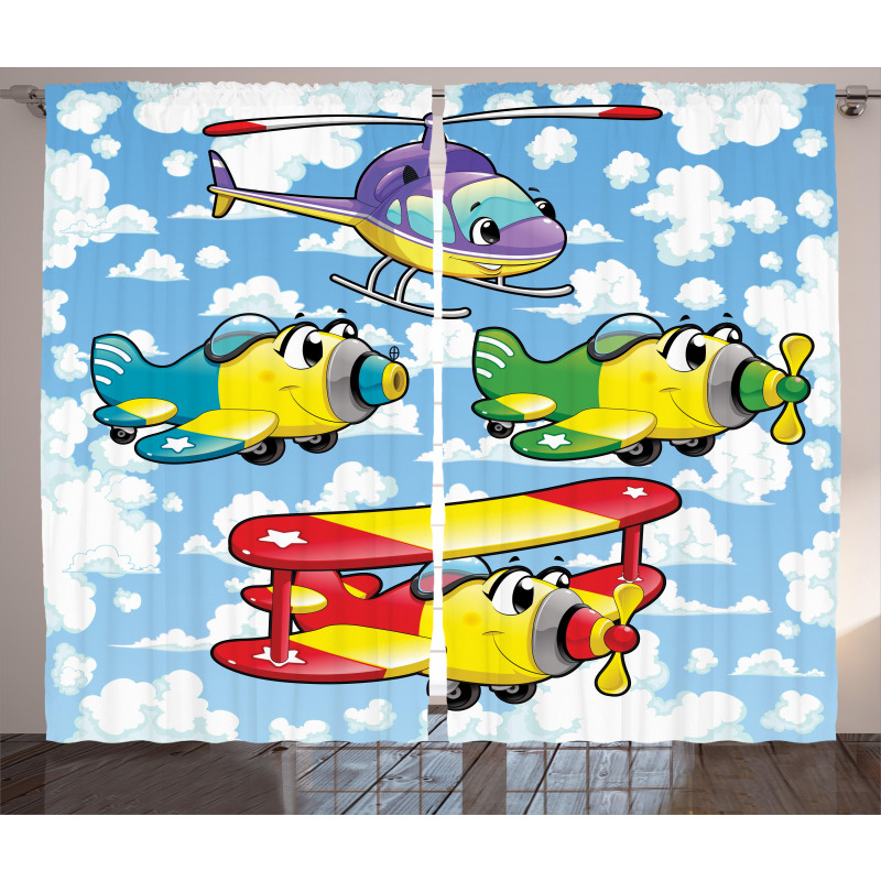 Kids Airplanes Sky Curtain