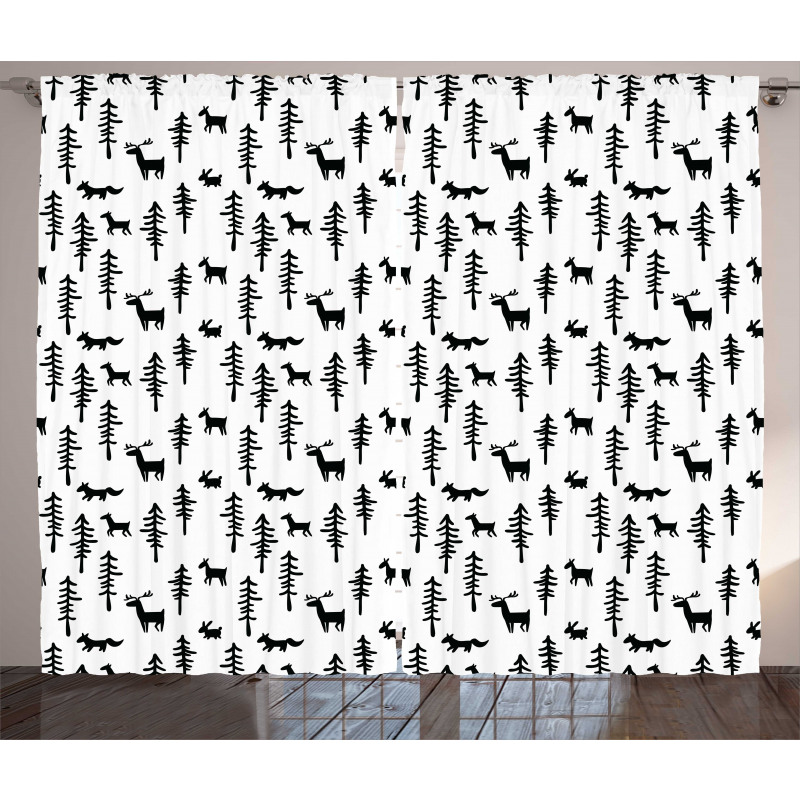 Pine Trees Rabbit Animal Curtain