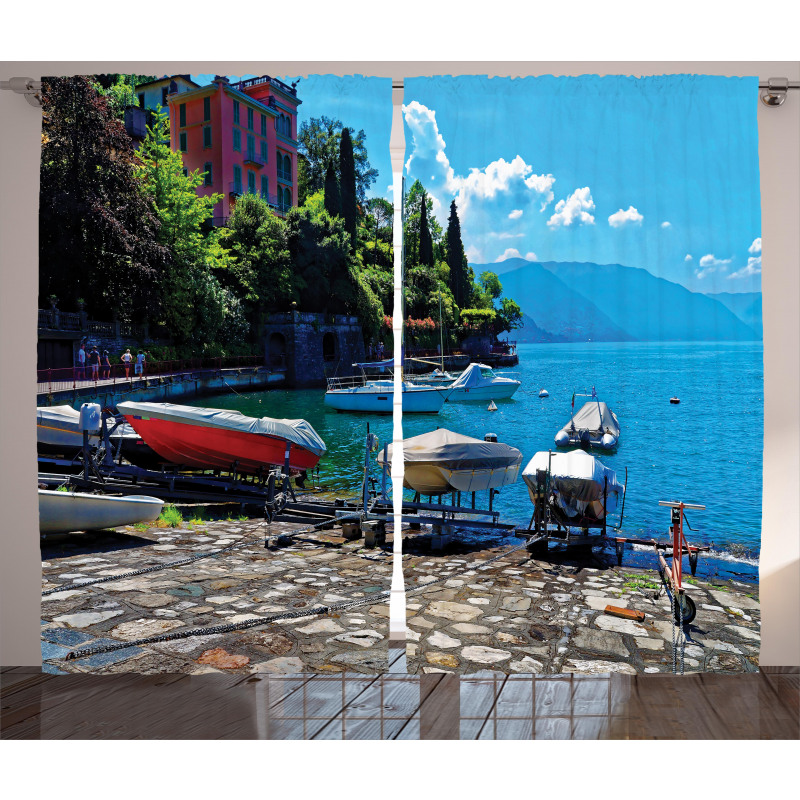 Boats European Sea Town Curtain