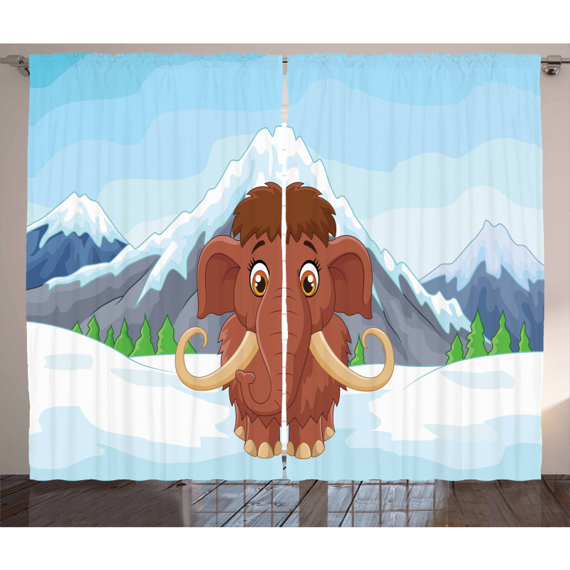 Baby Ice Snowy Mountain Curtain
