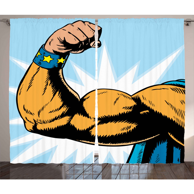 Cartoon Superheros Power Curtain