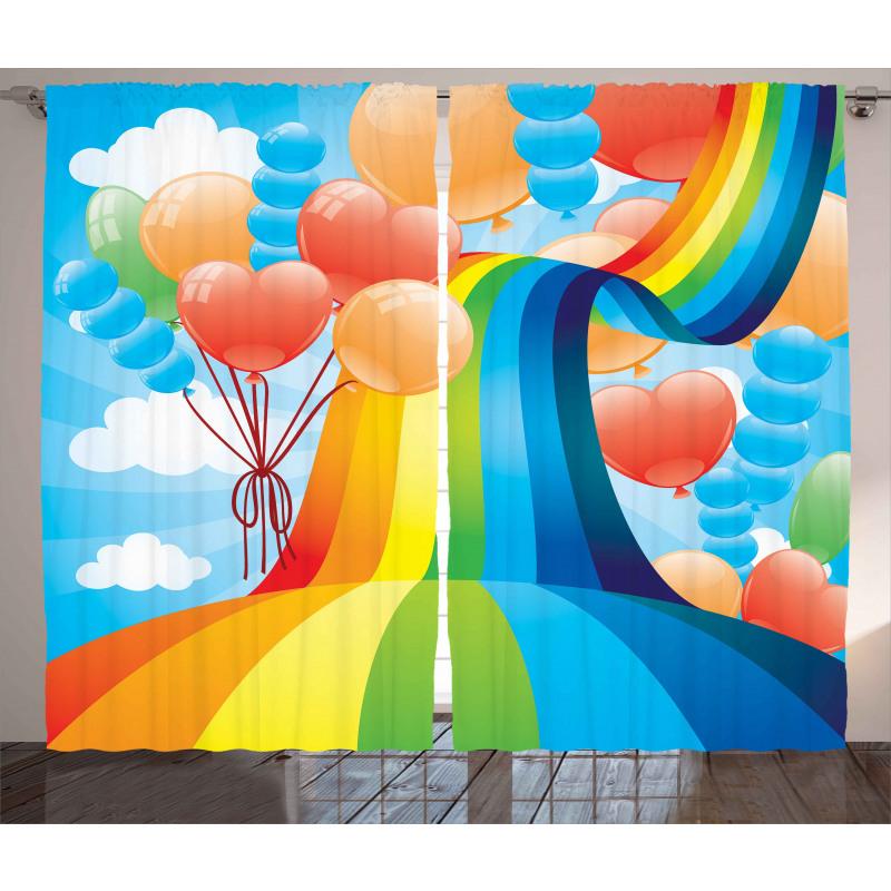 Rainbow Romantic Hearts Curtain