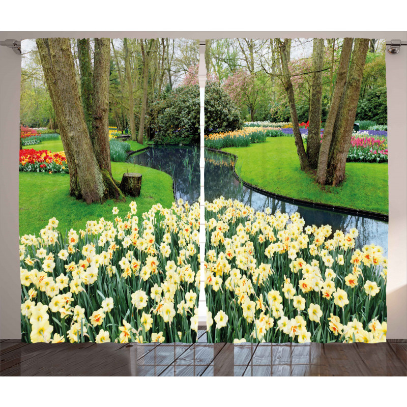 Flower Garden Grass Park Curtain