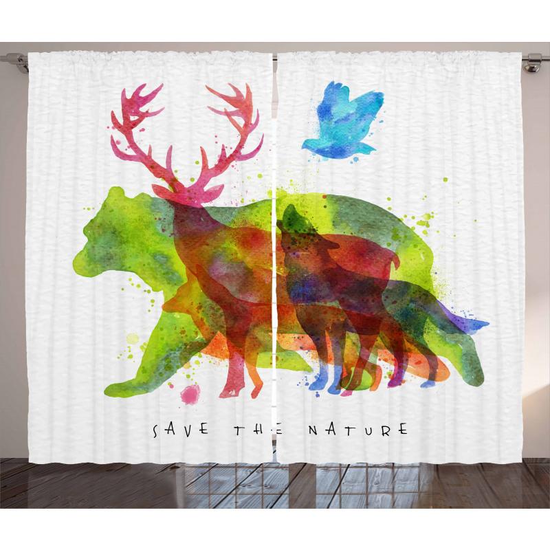 Alaska Animals Bear Wolf Curtain