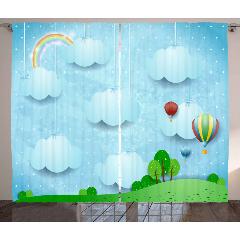 Balloons Clouds Stars Hill Curtain