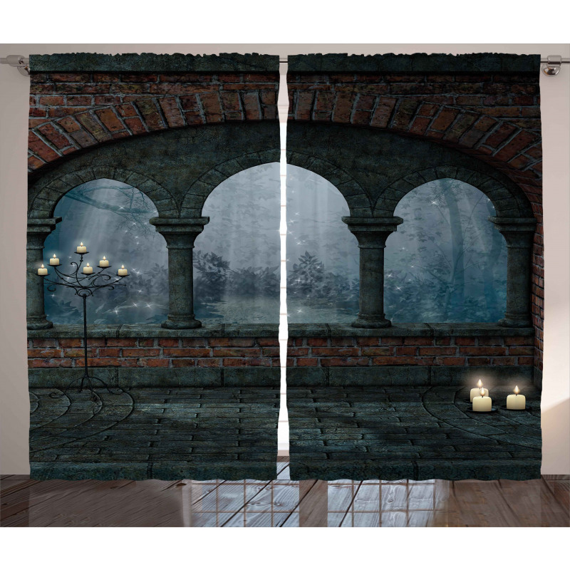 Medieval Castle at Night Curtain