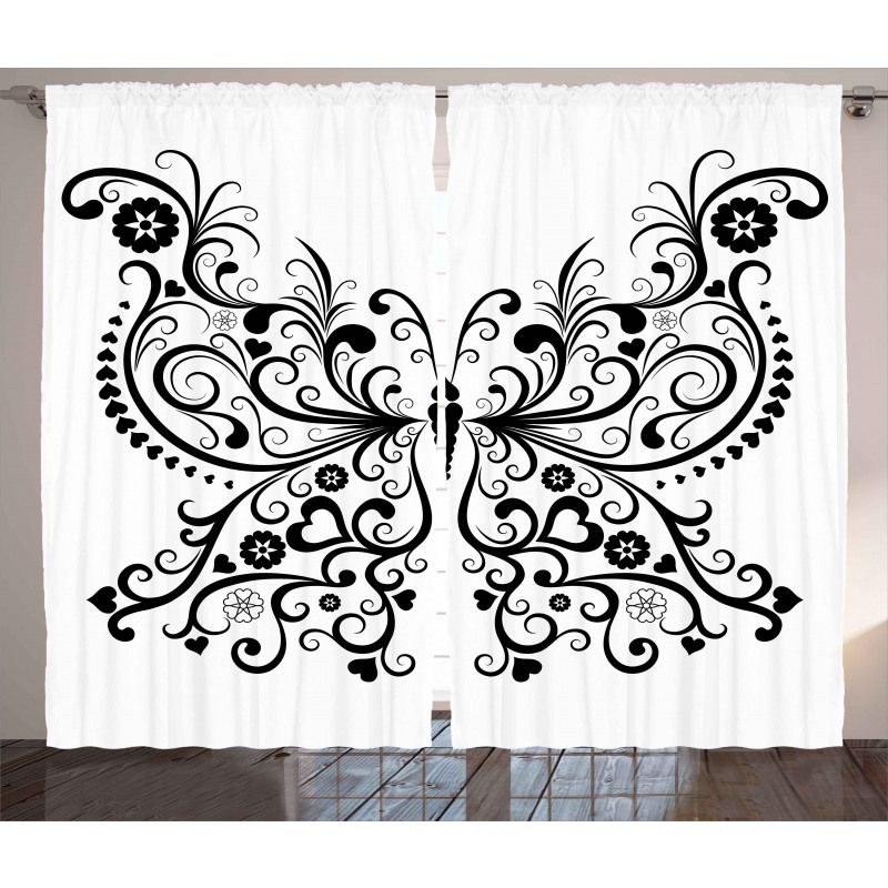 Swirled Wing with Flower Curtain