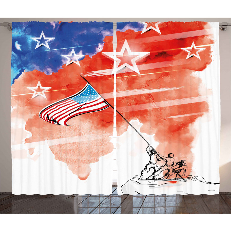 Watercolor Historic Curtain