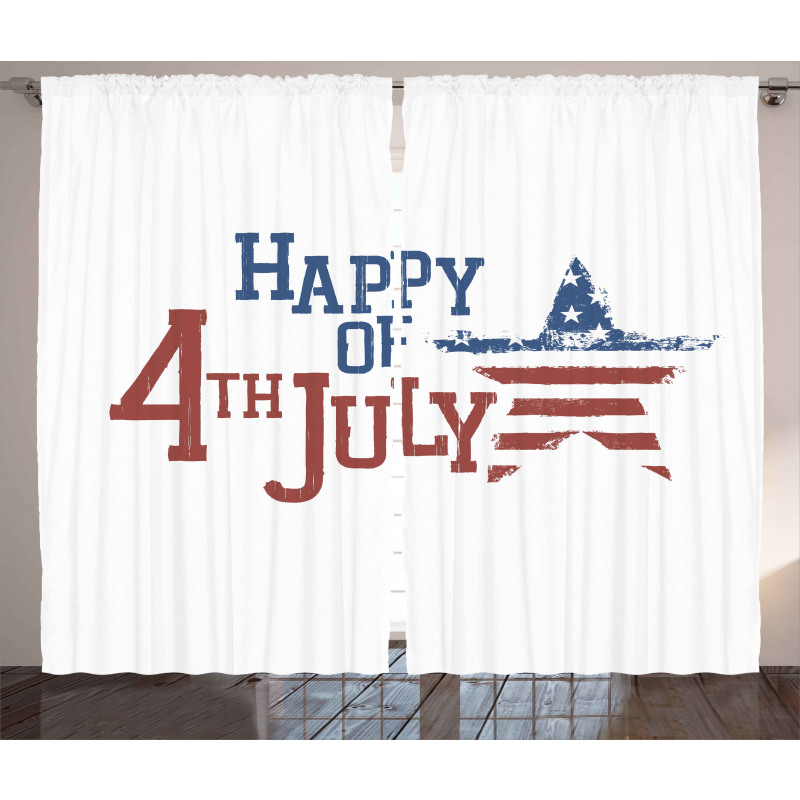 Grunge Pattern USA Curtain