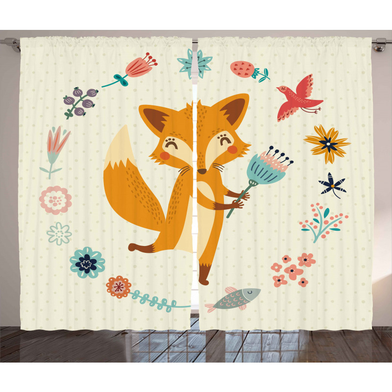 Animal with Floral Curtain