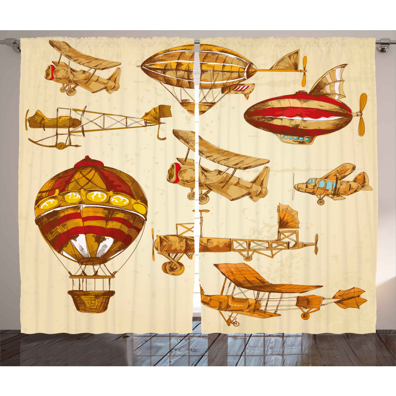Vintage Baloons Planes Curtain