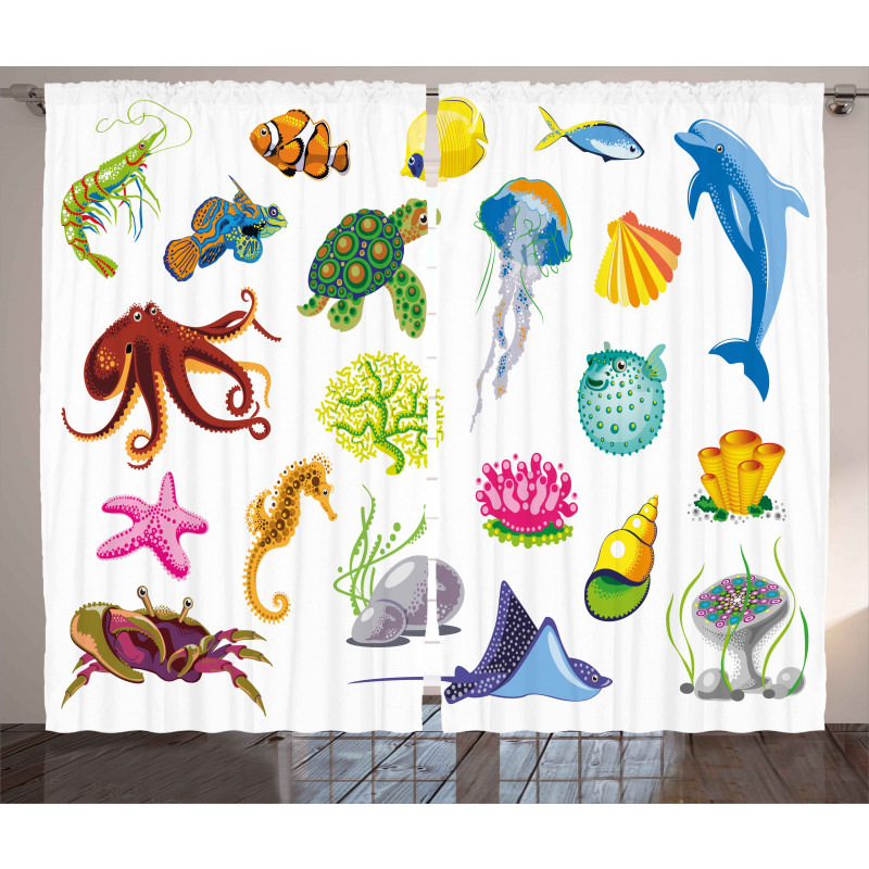 Sea Animals Octopus Fish Curtain
