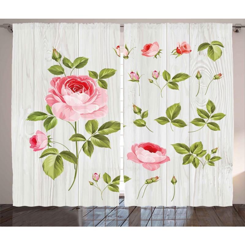 Vintage Rose Petals Leaf Curtain
