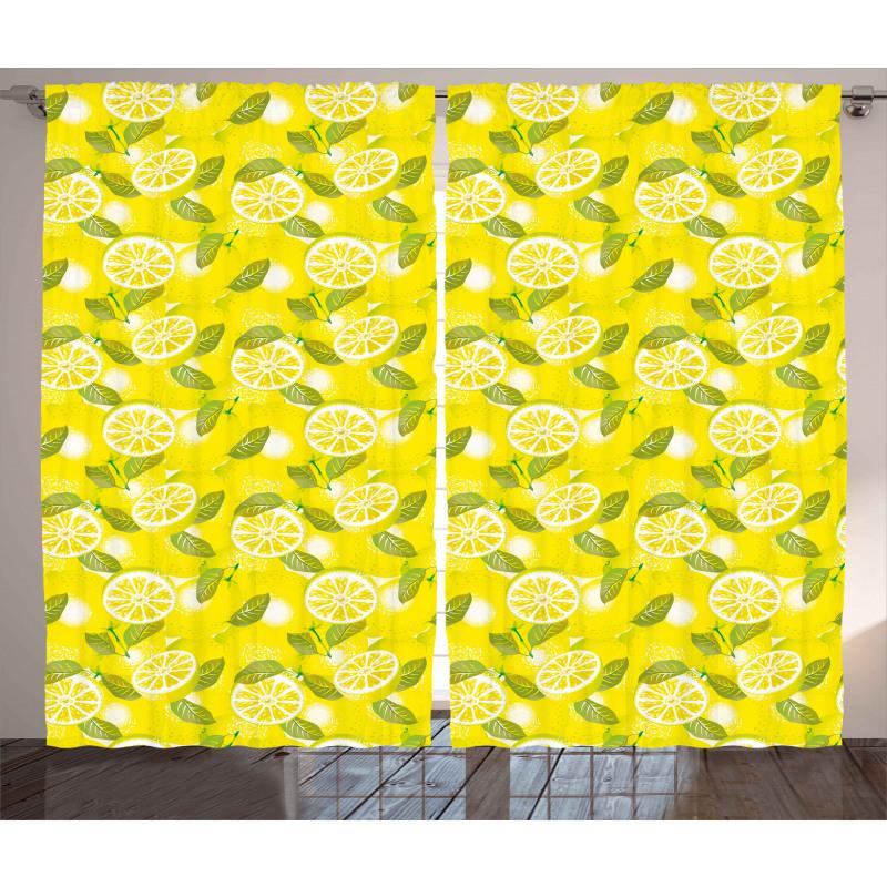 Fresh Lemons with Leaves Curtain