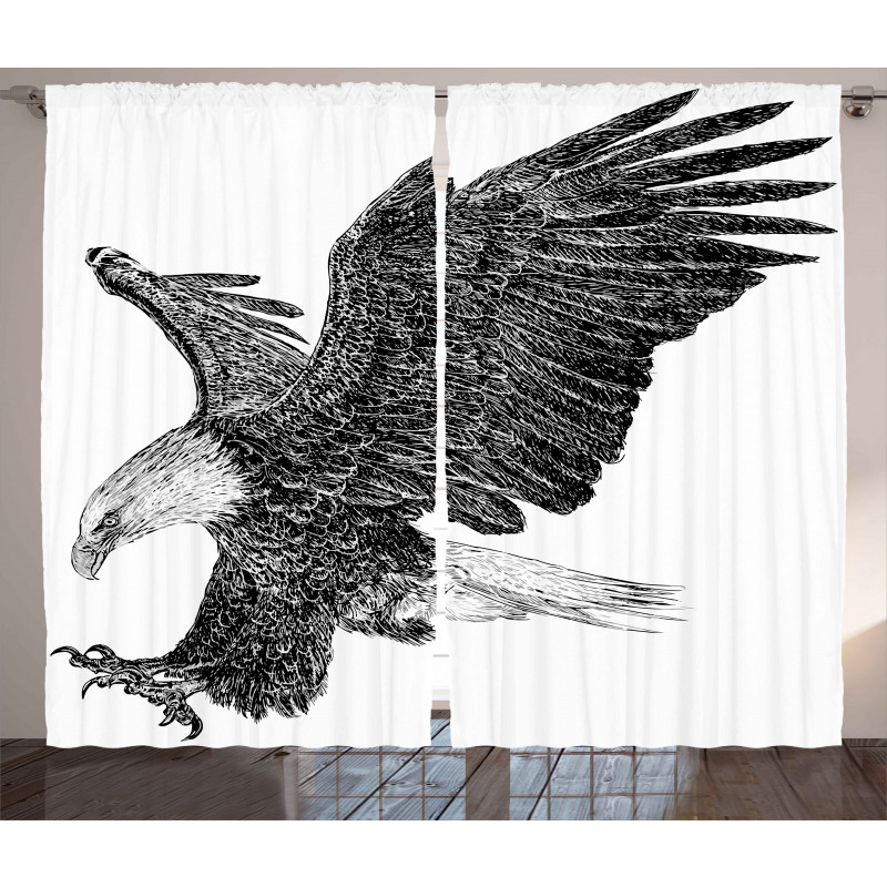 Bald Eagle Swoop Sketchy Curtain