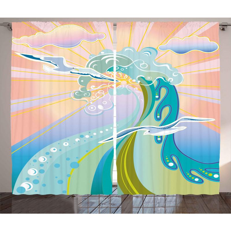 Cartoon Like Waves Curtain