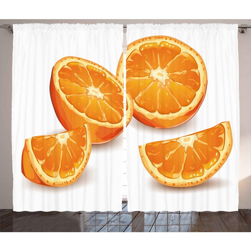 Health Orange Citrus Art Curtain