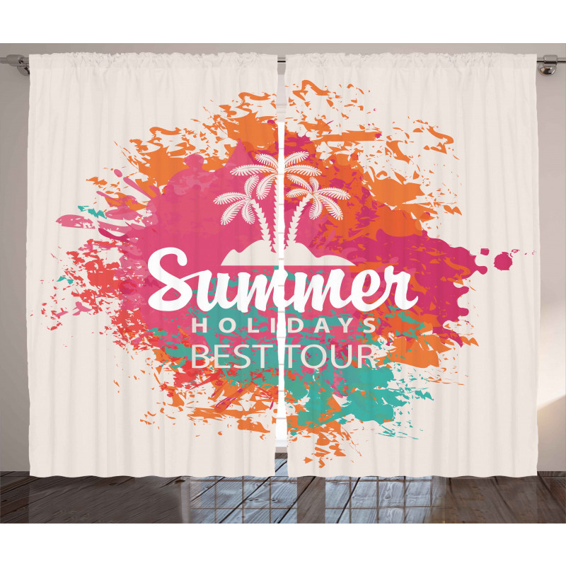 Lettering and Palms Curtain